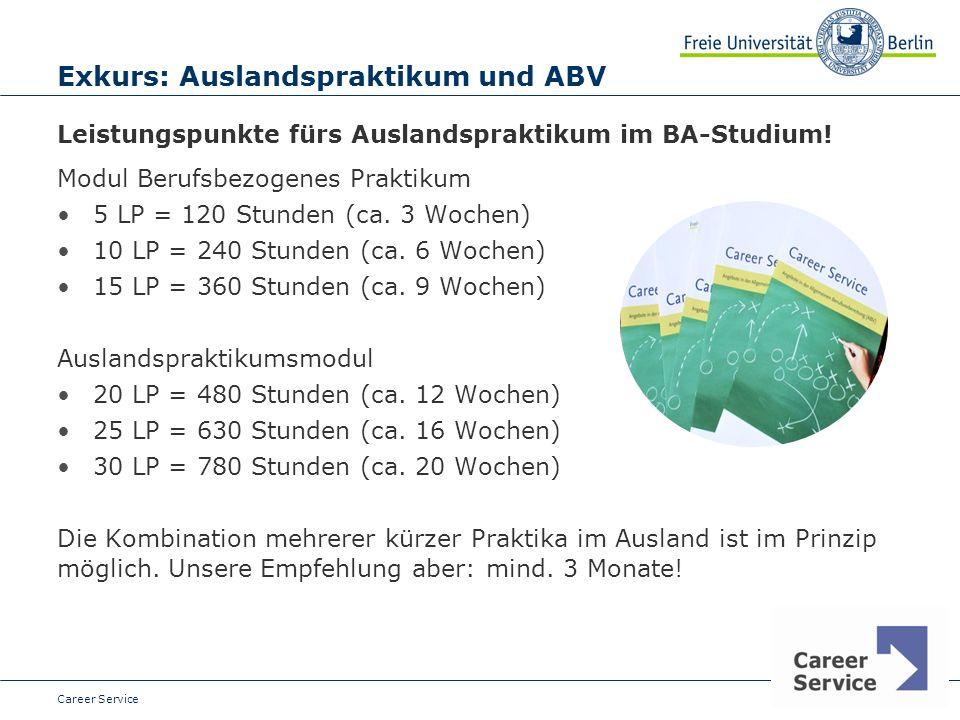 Date Exkurs: Auslandspraktikum und ABV Leistungspunkte fürs Auslandspraktikum im BA-Studium.