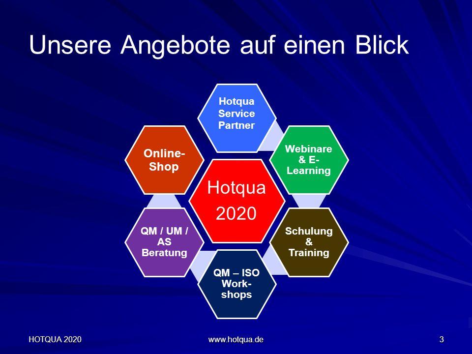 Unsere Angebote auf einen Blick Hotqua 2020 Hotqua Service Partner Webinare & E- Learning Schulung & Training QM – ISO Work- shops QM / UM / AS Beratung Online- Shop HOTQUA 2020 www.hotqua.de 3