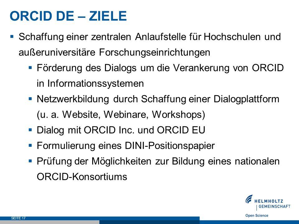 ORCID DE – ZIELE  Schaffung einer zentralen Anlaufstelle für Hochschulen und außeruniversitäre Forschungseinrichtungen  Förderung des Dialogs um die Verankerung von ORCID in Informationssystemen  Netzwerkbildung durch Schaffung einer Dialogplattform (u.