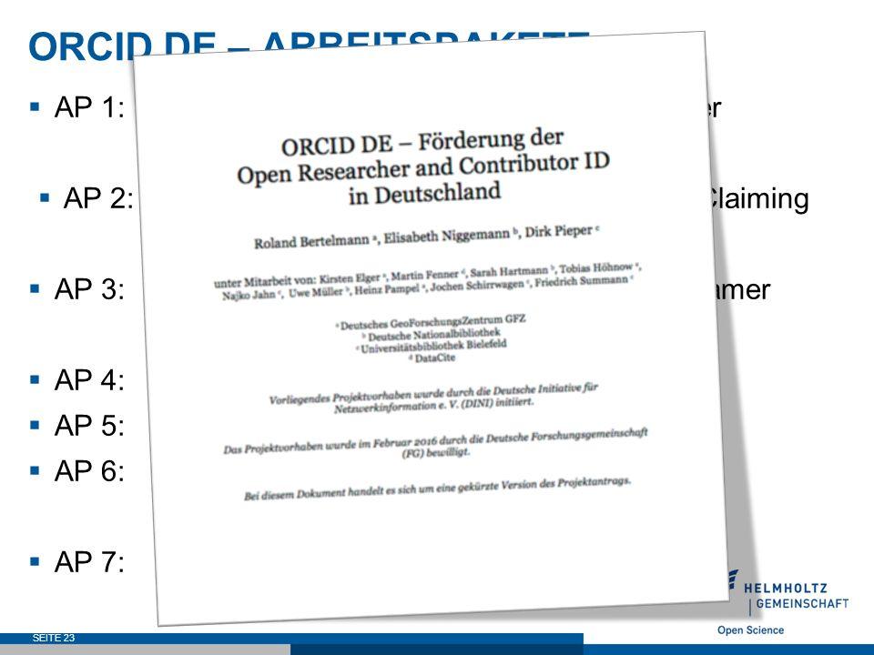ORCID DE – ARBEITSPAKETE  AP 1: Unterstützung von Einrichtungen bei der Implementierung von ORCID  AP 2: Aufbau und Etablierung eines ORCID-Claiming Services für den OAI-Dokumentenraum  AP 3: Verknüpfung von ORCID und Gemeinsamer Normdatei (GND)  AP 4: Datenschutzrechtliches Gutachten  AP 5: Standardisierung  AP 6: ORCID-Integration jenseits von Zeitschriftenartikeln  AP 7: Projektmanagement SEITE 23