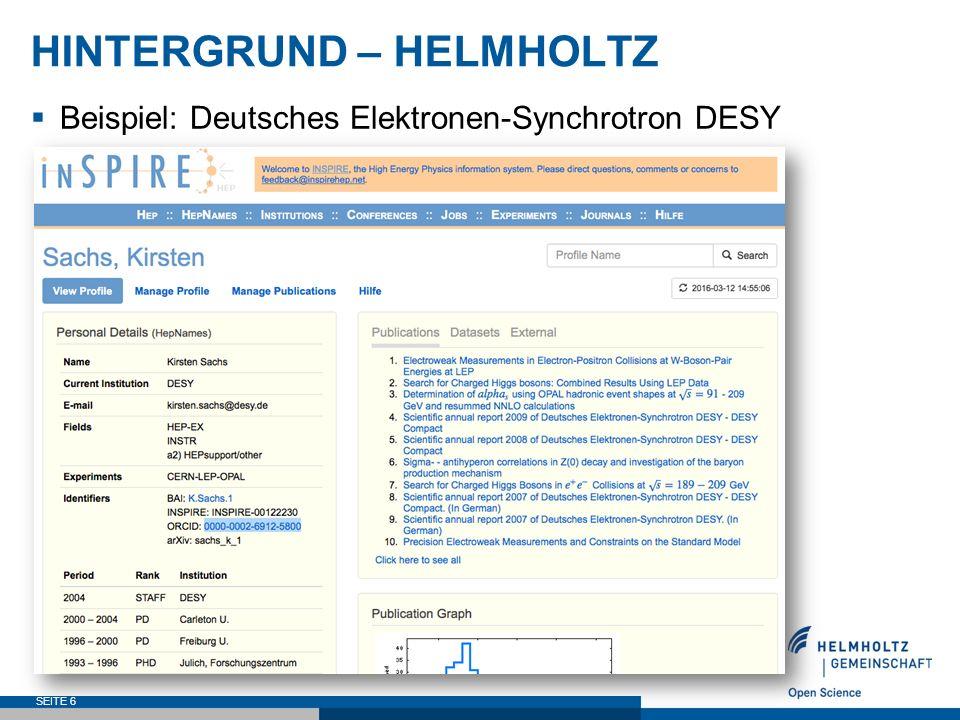 HINTERGRUND – HELMHOLTZ  Beispiel: Deutsches Elektronen-Synchrotron DESY SEITE 7 Wagner, A.