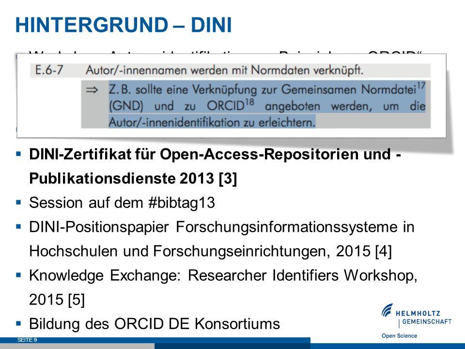 ORCID DE – ZIELE  Verzahnung von ORCID mit der Gemeinsamen Normdatei (GND) SEITE 20