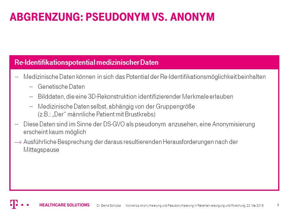 10  Welche Rechtsgrundlage benötigt Deutschland für Anonymisierung/Pseudonymisierung  Forschung  Qualitätssicherung  Routineversorgung (z.B.