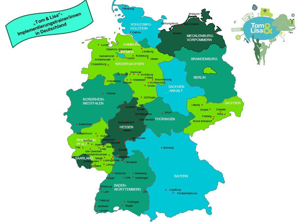HESSEN BRANDENBURG BERLIN MECKLENBURG- VORPOMMERN RHEINLAND PFALZ SAARLAND HESSEN THÜRINGEN SACHSEN RHEINLAND PFALZ NIEDERSACHSEN NORDRHEIN- WESTFALEN BADEN- WÜRTTEMBERG BAYERN THÜRINGEN HESSEN SACHSEN -ANHALT BREMEN SCHLESWIG- HOLSTEIN SAARLAND HAMBURG Lörrach  Tom & Lisa im Landkreis Lörrach & Bundeskoordination Villa Schöpflin gGmbH – Zentrum für Suchtprävention Franz-Ehret-Straße 7 79541 Lörrach Peter Eichin, Sonja Pajonck Telefon: 07621-914909-1, 07621-914909-2 E-Mail: peter.eichin@villa-schoepflin.de, sonja.pajonck@villa-schoepflin.de