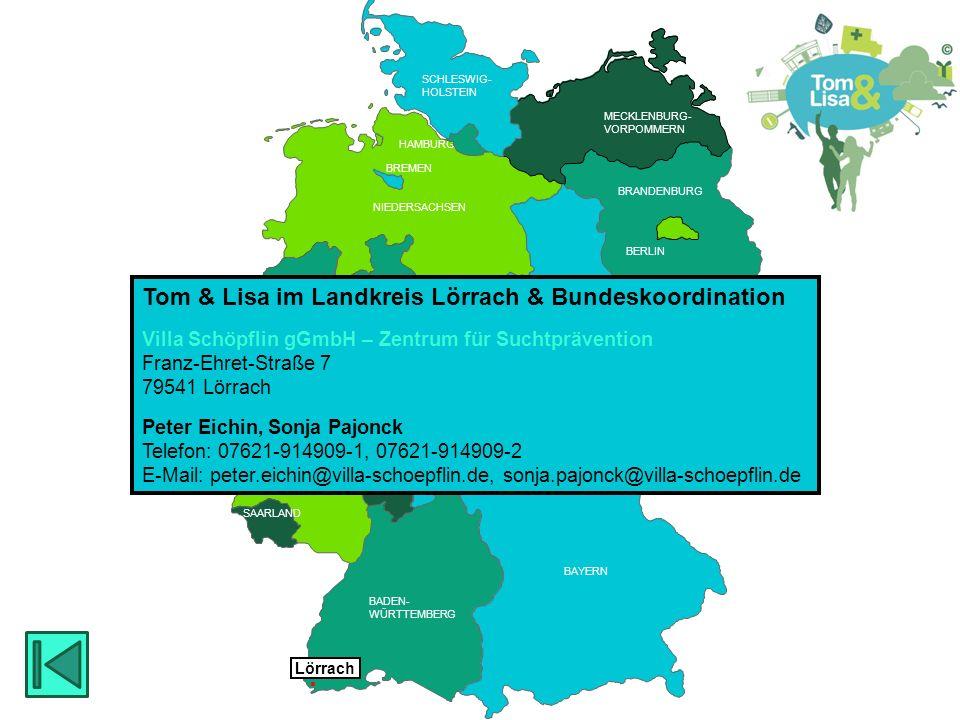 HESSEN BRANDENBURG BERLIN MECKLENBURG- VORPOMMERN RHEINLAND PFALZ SAARLAND HESSEN THÜRINGEN SACHSEN RHEINLAND PFALZ NIEDERSACHSEN NORDRHEIN- WESTFALEN BADEN- WÜRTTEMBERG BAYERN THÜRINGEN HESSEN SACHSEN -ANHALT BREMEN SCHLESWIG- HOLSTEIN SAARLAND HAMBURG  Müllheim KOBRA Jugend- und Drogenberatung Moltkestr.