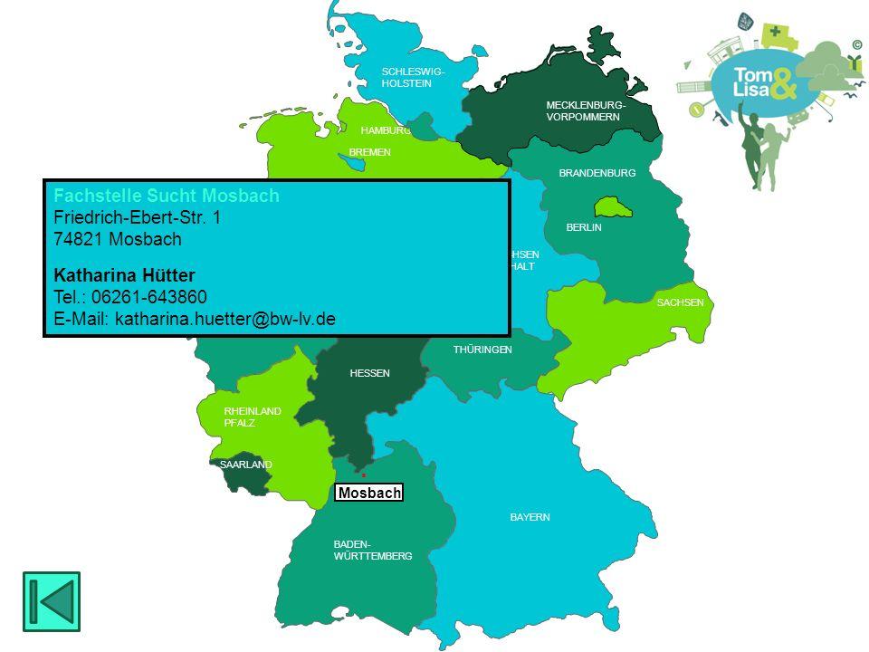 HESSEN BRANDENBURG BERLIN MECKLENBURG- VORPOMMERN RHEINLAND PFALZ SAARLAND HESSEN THÜRINGEN SACHSEN RHEINLAND PFALZ NIEDERSACHSEN NORDRHEIN- WESTFALEN BADEN- WÜRTTEMBERG BAYERN THÜRINGEN HESSEN SACHSEN -ANHALT BREMEN SCHLESWIG- HOLSTEIN SAARLAND HAMBURG  Osnabrück Fachstelle für Sucht und Suchtprävention Diakonisches Werk Osnabrück Lotter Str.