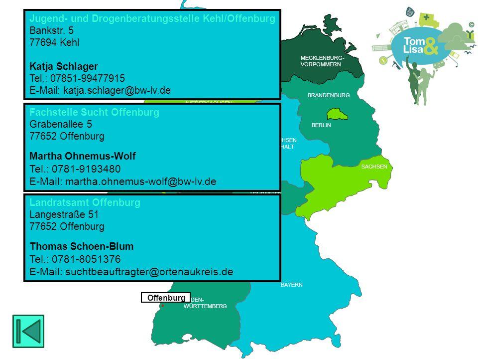 HESSEN BRANDENBURG BERLIN MECKLENBURG- VORPOMMERN RHEINLAND PFALZ SAARLAND HESSEN THÜRINGEN SACHSEN RHEINLAND PFALZ NIEDERSACHSEN NORDRHEIN- WESTFALEN BADEN- WÜRTTEMBERG BAYERN THÜRINGEN HESSEN SACHSEN -ANHALT BREMEN SCHLESWIG- HOLSTEIN SAARLAND HAMBURG  Lahr Drogenhilfe Lahr Goethestr.