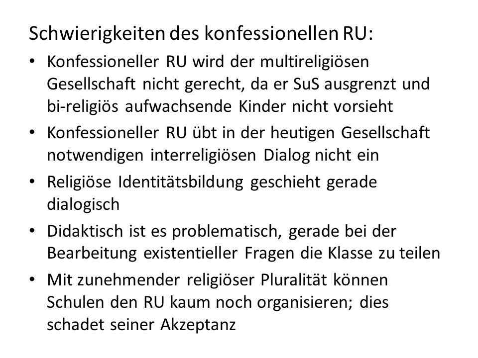 Schwierigkeiten des konfessionellen RU: Konfessioneller RU wird der multireligiösen Gesellschaft nicht gerecht, da er SuS ausgrenzt und bi-religiös au