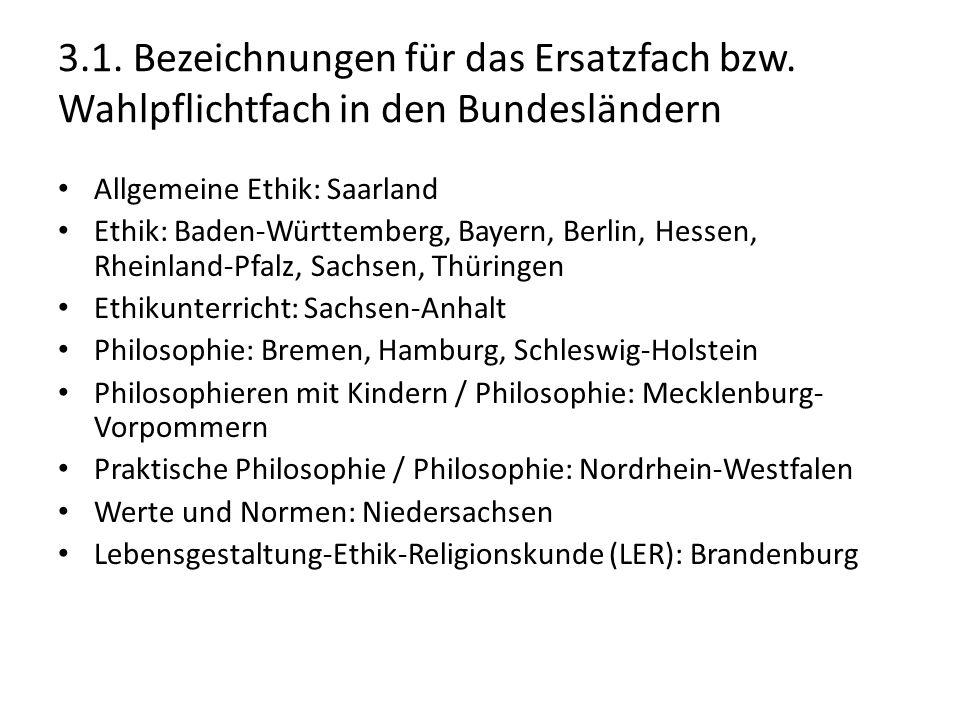 3.1. Bezeichnungen für das Ersatzfach bzw. Wahlpflichtfach in den Bundesländern Allgemeine Ethik: Saarland Ethik: Baden-Württemberg, Bayern, Berlin, H