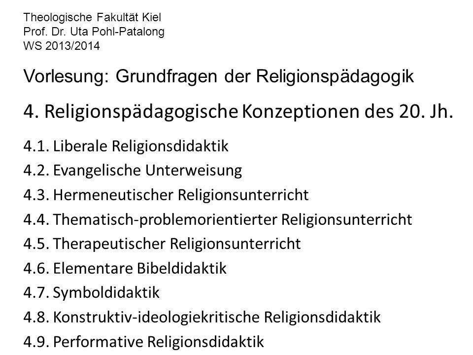 Theologische Fakultät Kiel Prof. Dr. Uta Pohl-Patalong WS 2013/2014 Vorlesung: Grundfragen der Religionspädagogik 4. Religionspädagogische Konzeptione