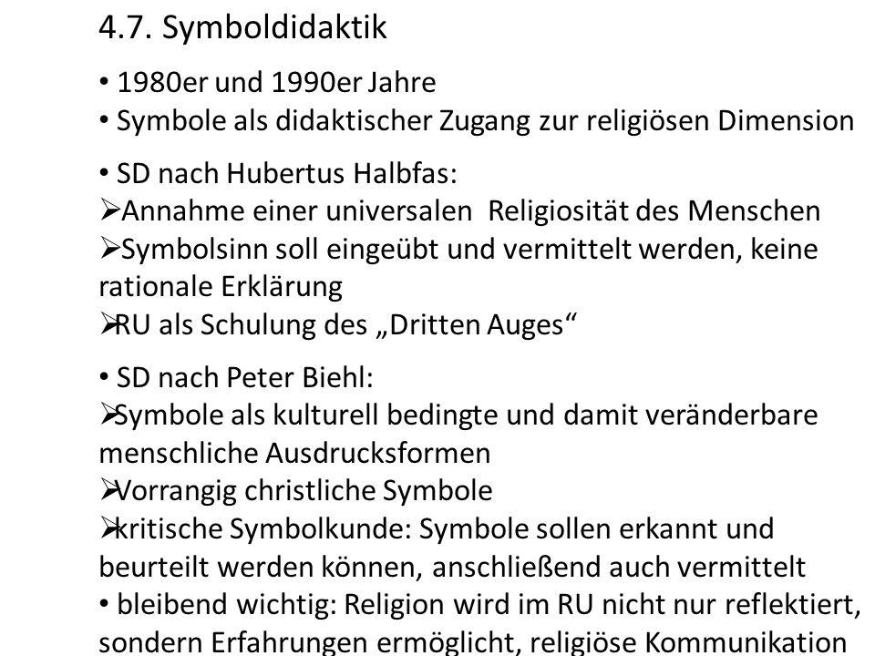 4.7. Symboldidaktik 1980er und 1990er Jahre Symbole als didaktischer Zugang zur religiösen Dimension SD nach Hubertus Halbfas:  Annahme einer univers