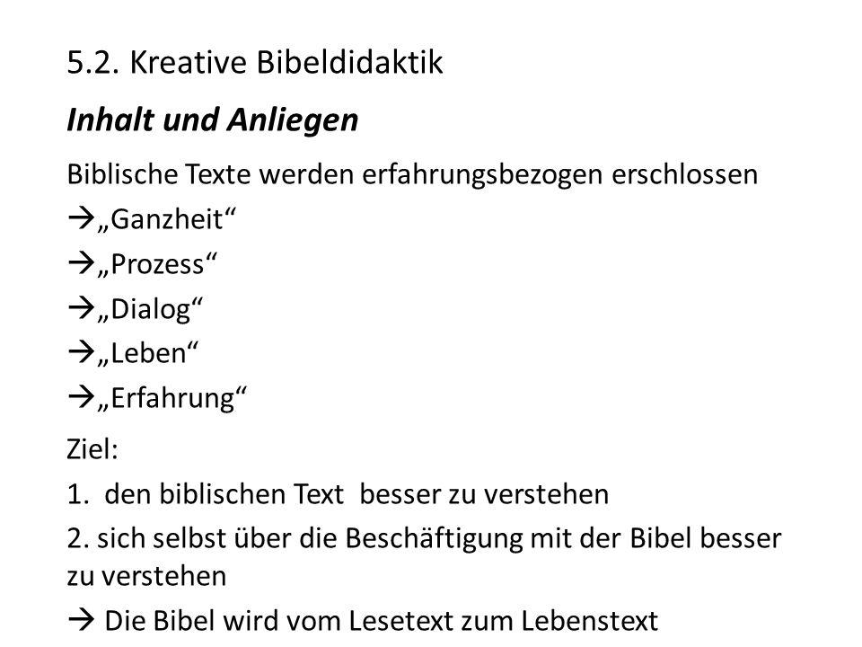 """5.2. Kreative Bibeldidaktik Inhalt und Anliegen Biblische Texte werden erfahrungsbezogen erschlossen  """"Ganzheit""""  """"Prozess""""  """"Dialog""""  """"Leben""""  """""""