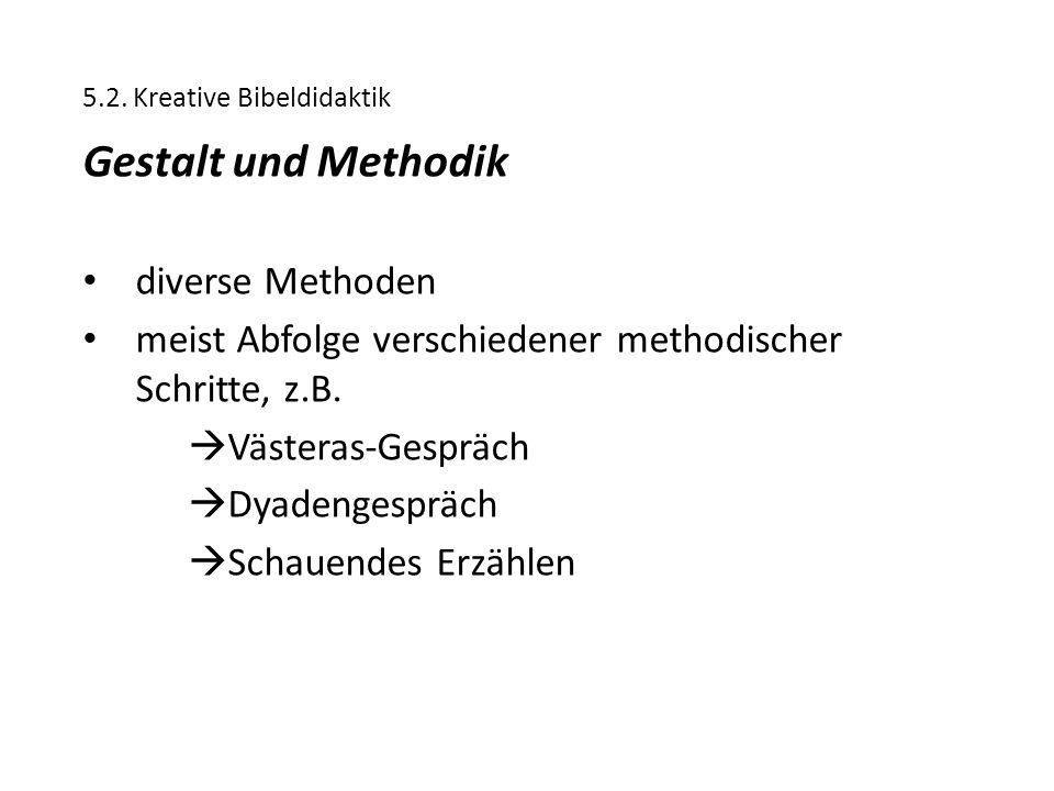 5.2. Kreative Bibeldidaktik Gestalt und Methodik diverse Methoden meist Abfolge verschiedener methodischer Schritte, z.B.  Västeras-Gespräch  Dyaden