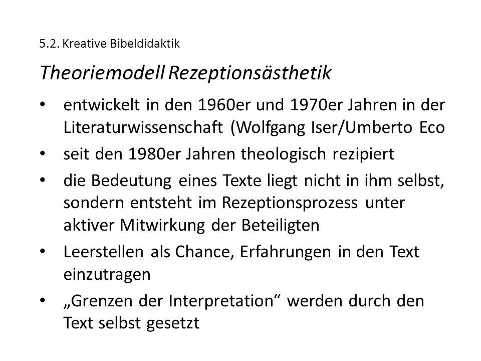 5.2. Kreative Bibeldidaktik Theoriemodell Rezeptionsästhetik entwickelt in den 1960er und 1970er Jahren in der Literaturwissenschaft (Wolfgang Iser/Um