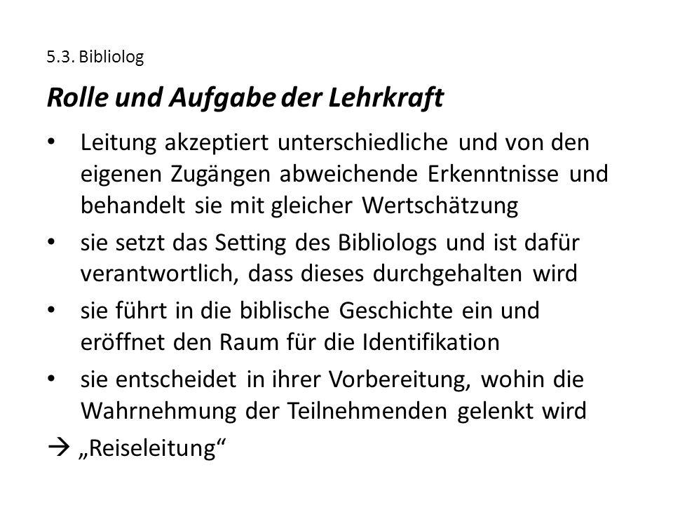 5.3. Bibliolog Rolle und Aufgabe der Lehrkraft Leitung akzeptiert unterschiedliche und von den eigenen Zugängen abweichende Erkenntnisse und behandelt