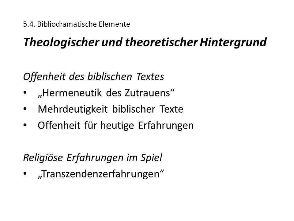 """5.4. Bibliodramatische Elemente Theologischer und theoretischer Hintergrund Offenheit des biblischen Textes """"Hermeneutik des Zutrauens"""" Mehrdeutigkeit"""
