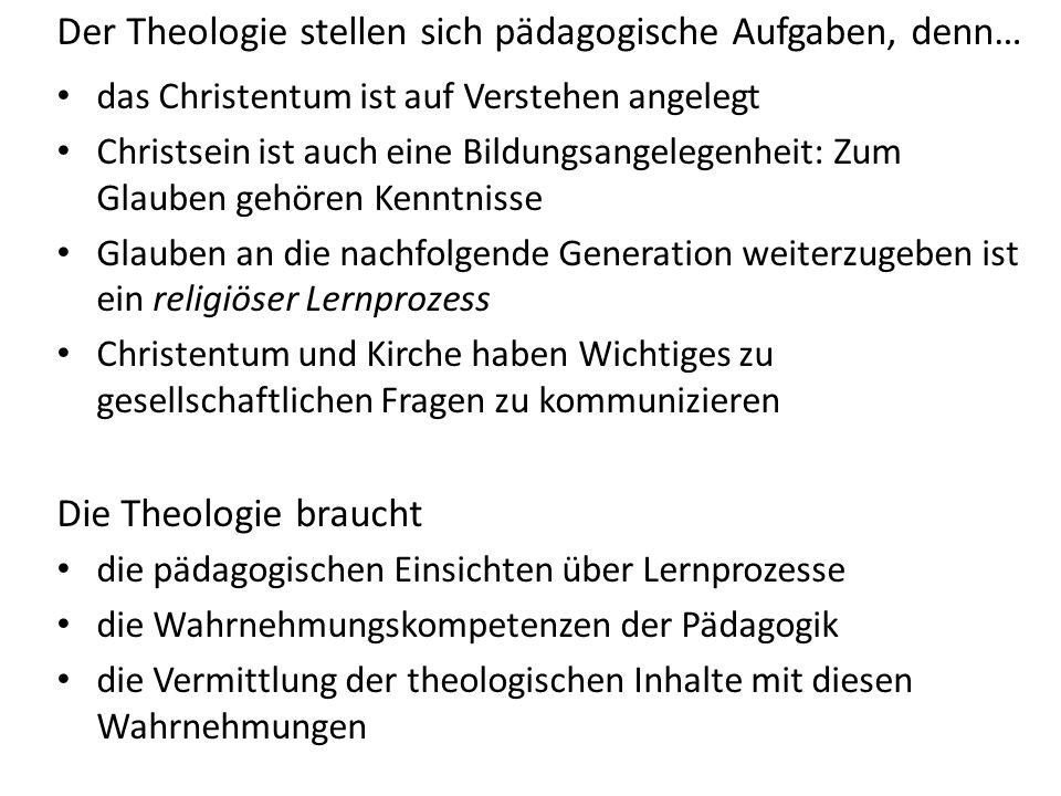 Der Theologie stellen sich pädagogische Aufgaben, denn… das Christentum ist auf Verstehen angelegt Christsein ist auch eine Bildungsangelegenheit: Zum