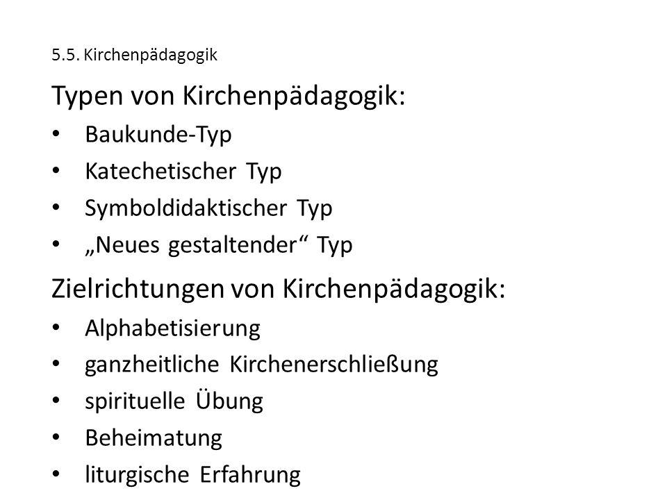 """5.5. Kirchenpädagogik Typen von Kirchenpädagogik: Baukunde-Typ Katechetischer Typ Symboldidaktischer Typ """"Neues gestaltender"""" Typ Zielrichtungen von K"""