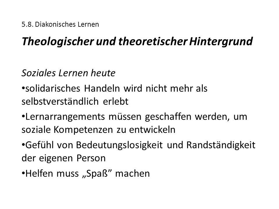 5.8. Diakonisches Lernen Theologischer und theoretischer Hintergrund Soziales Lernen heute solidarisches Handeln wird nicht mehr als selbstverständlic