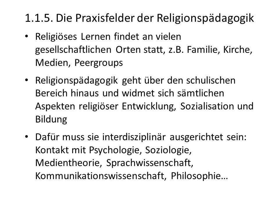 1.1.5. Die Praxisfelder der Religionspädagogik Religiöses Lernen findet an vielen gesellschaftlichen Orten statt, z.B. Familie, Kirche, Medien, Peergr