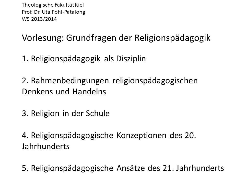 Gründe für den konfessionellen RU: 1.rechtlich: entspricht fraglos Art.