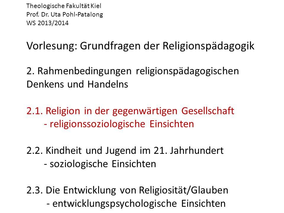 Theologische Fakultät Kiel Prof. Dr. Uta Pohl-Patalong WS 2013/2014 Vorlesung: Grundfragen der Religionspädagogik 2. Rahmenbedingungen religionspädago