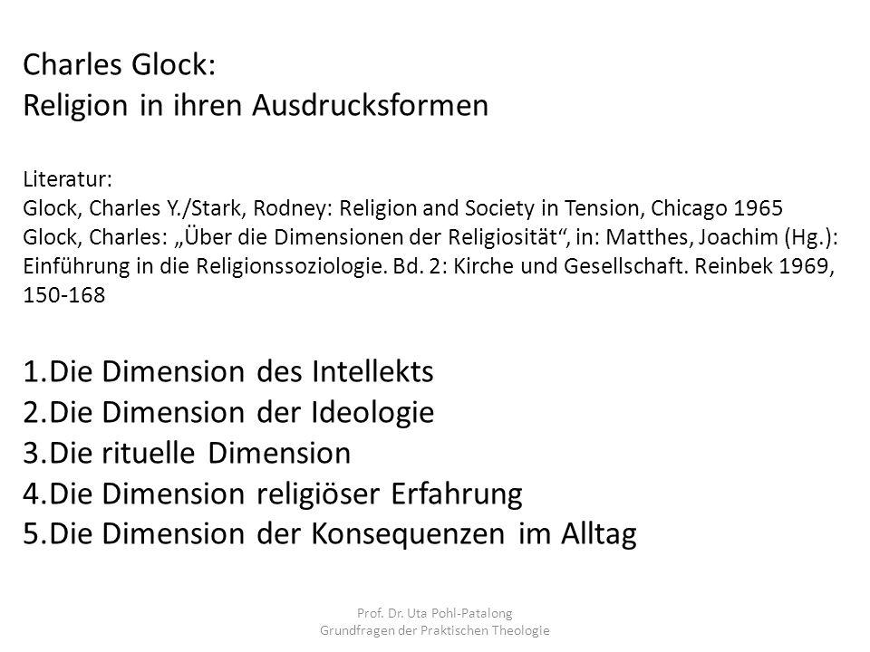 Prof. Dr. Uta Pohl-Patalong Grundfragen der Praktischen Theologie Charles Glock: Religion in ihren Ausdrucksformen Literatur: Glock, Charles Y./Stark,