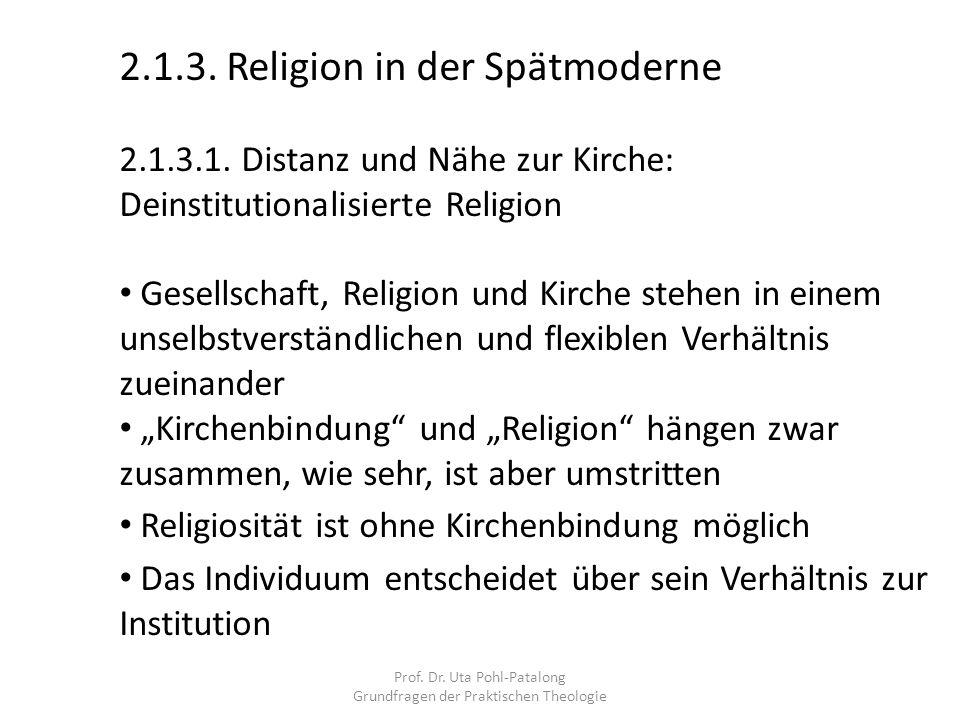 Prof. Dr. Uta Pohl-Patalong Grundfragen der Praktischen Theologie 2.1.3. Religion in der Spätmoderne 2.1.3.1. Distanz und Nähe zur Kirche: Deinstituti