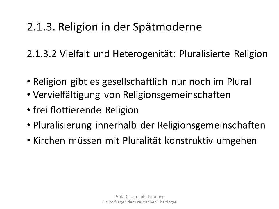 Prof. Dr. Uta Pohl-Patalong Grundfragen der Praktischen Theologie 2.1.3. Religion in der Spätmoderne 2.1.3.2 Vielfalt und Heterogenität: Pluralisierte