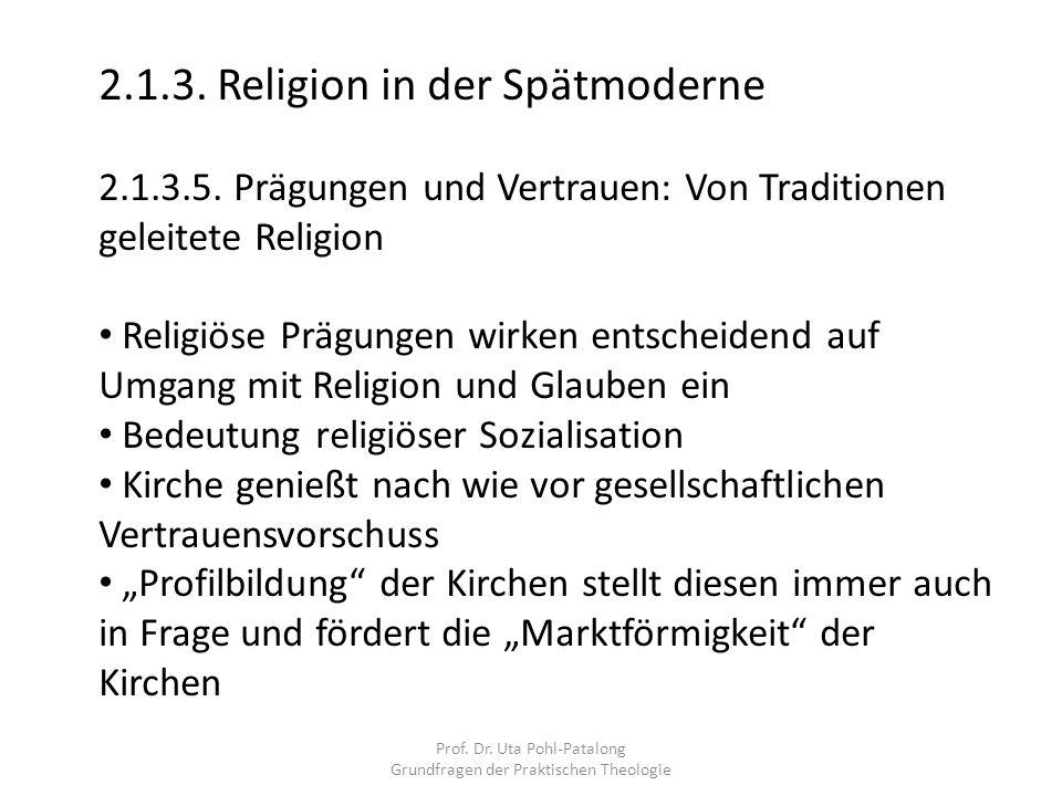 Prof. Dr. Uta Pohl-Patalong Grundfragen der Praktischen Theologie 2.1.3. Religion in der Spätmoderne 2.1.3.5. Prägungen und Vertrauen: Von Traditionen