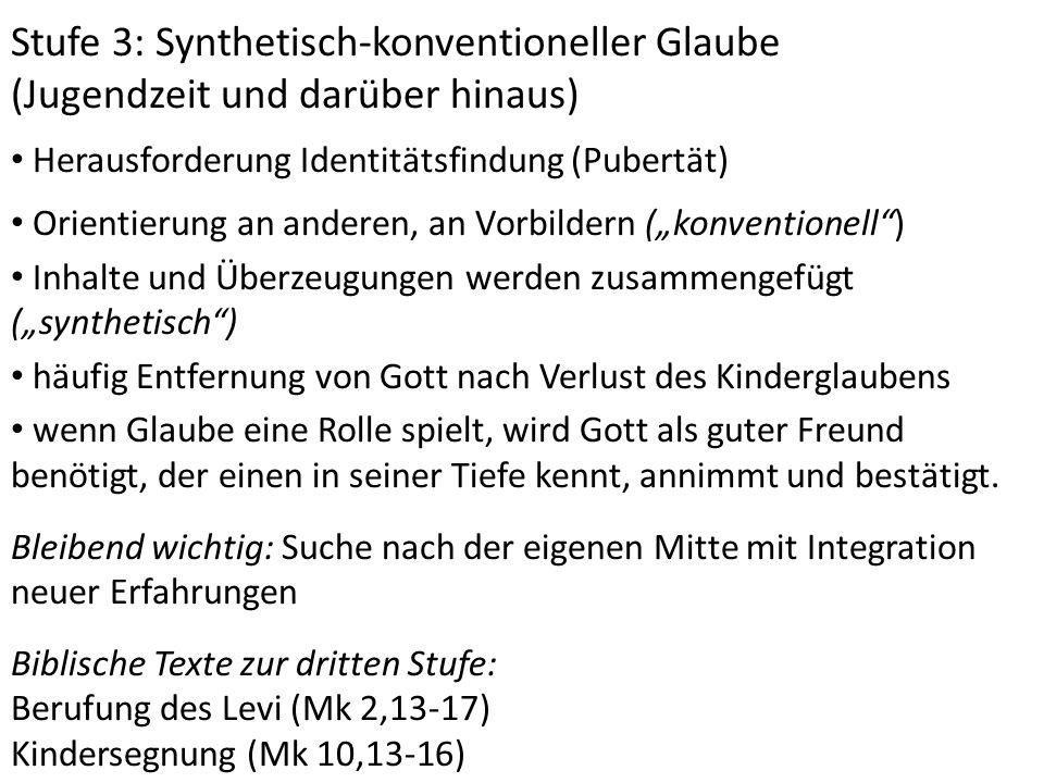 Stufe 3: Synthetisch-konventioneller Glaube (Jugendzeit und darüber hinaus) Herausforderung Identitätsfindung (Pubertät) Orientierung an anderen, an V