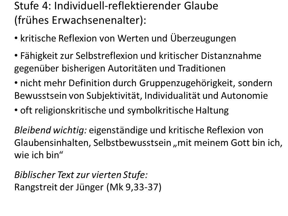 Stufe 4: Individuell-reflektierender Glaube (frühes Erwachsenenalter): kritische Reflexion von Werten und Überzeugungen Fähigkeit zur Selbstreflexion