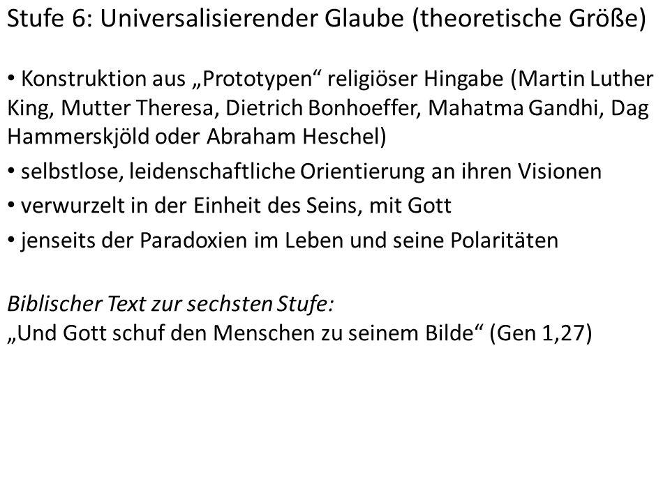 """Stufe 6: Universalisierender Glaube (theoretische Größe) Konstruktion aus """"Prototypen"""" religiöser Hingabe (Martin Luther King, Mutter Theresa, Dietric"""