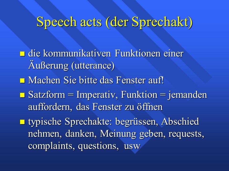 Speech acts (der Sprechakt) die kommunikativen Funktionen einer Äußerung (utterance) die kommunikativen Funktionen einer Äußerung (utterance) Machen Sie bitte das Fenster auf.