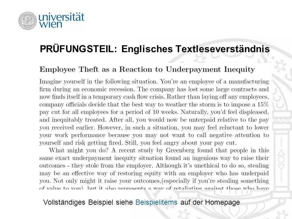 PRÜFUNGSTEIL: Englisches Textleseverständnis Vollständiges Beispiel siehe Beispielitems auf der Homepage