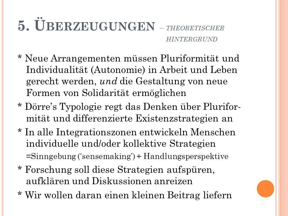 5. Ü BERZEUGUNGEN – THEORETISCHER HINTERGRUND * Neue Arrangementen müssen Pluriformität und Individualität (Autonomie) in Arbeit und Leben gerecht wer
