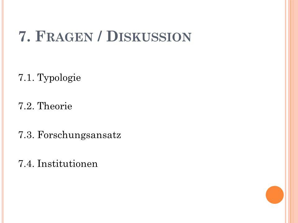 7. F RAGEN / D ISKUSSION 7.1. Typologie 7.2. Theorie 7.3. Forschungsansatz 7.4. Institutionen