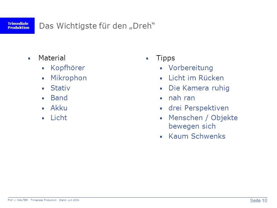 """Trimediale Produktion Seite 10 Prof. J. WALTER Trimediale Produktion Stand: Juni 2004 Das Wichtigste für den """"Dreh""""  Material  Kopfhörer  Mikrophon"""