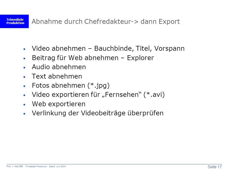 Trimediale Produktion Seite 17 Prof. J. WALTER Trimediale Produktion Stand: Juni 2004 Abnahme durch Chefredakteur-> dann Export  Video abnehmen – Bau