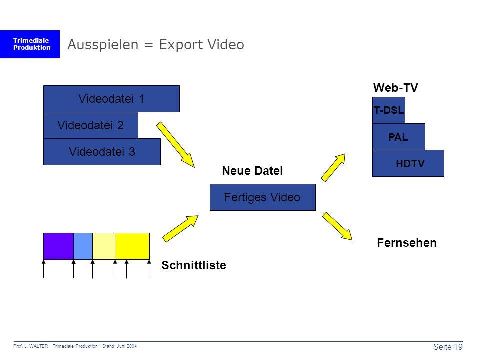 Trimediale Produktion Seite 19 Prof. J. WALTER Trimediale Produktion Stand: Juni 2004 Ausspielen = Export Video Schnittliste Fertiges Video Videodatei