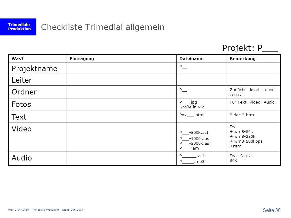 Trimediale Produktion Seite 30 Prof. J. WALTER Trimediale Produktion Stand: Juni 2004 Checkliste Trimedial allgemein Was?EintragungDateinameBemerkung