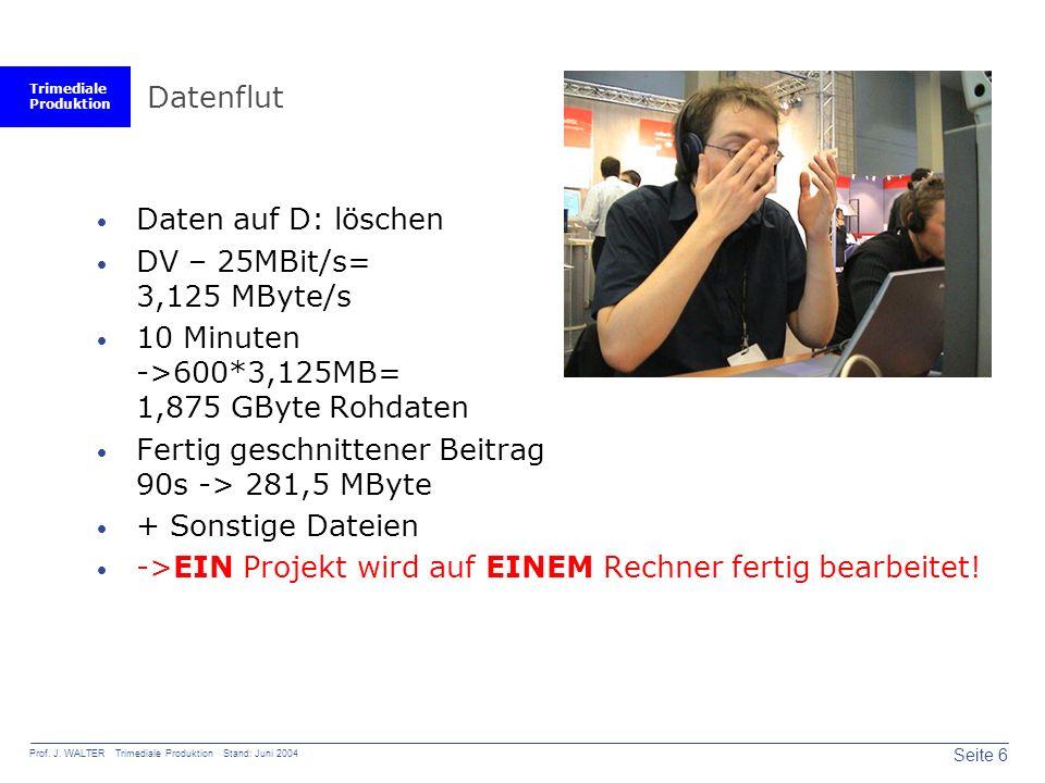 Trimediale Produktion Seite 6 Prof. J. WALTER Trimediale Produktion Stand: Juni 2004 Datenflut  Daten auf D: löschen  DV – 25MBit/s= 3,125 MByte/s 