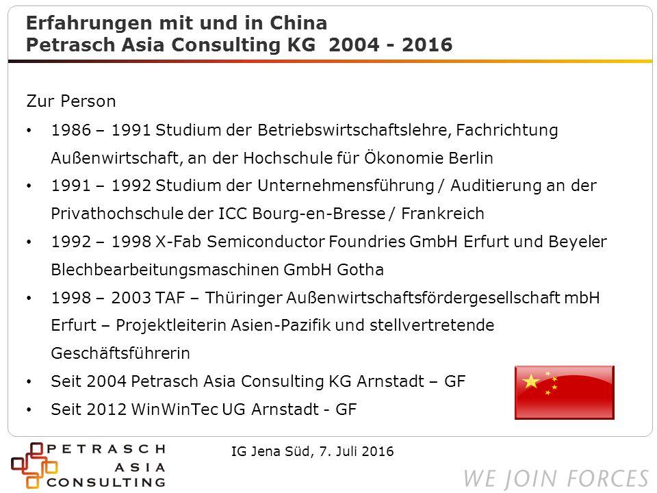 2 Gesamtüberblick China China ist groß und vielfältig IG Jena Süd, 7. Juli 2016