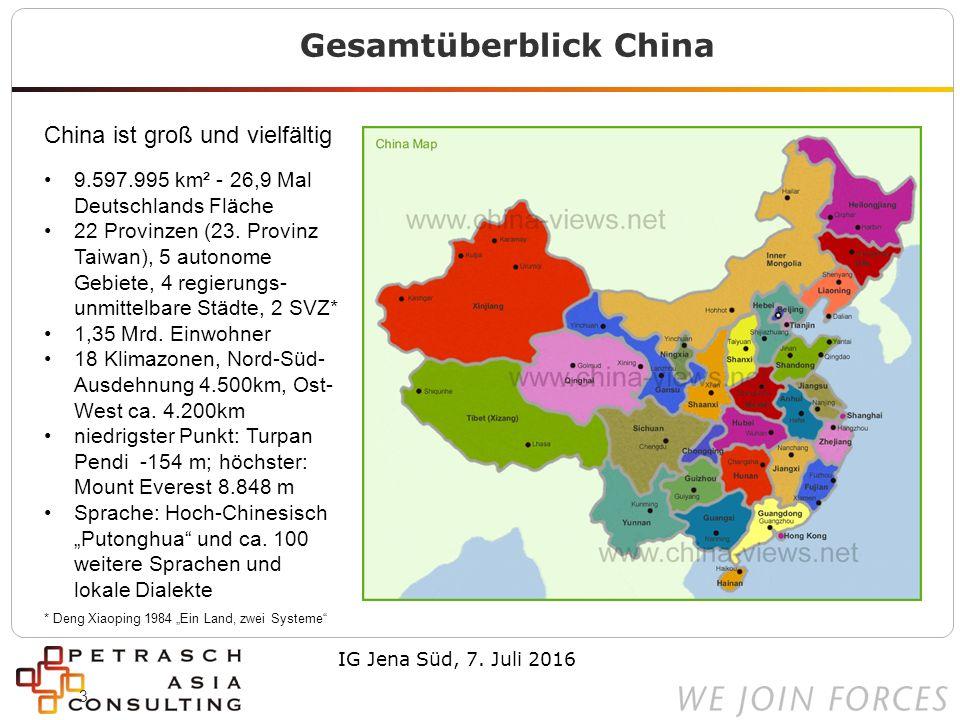 3 Gesamtüberblick China China ist groß und vielfältig 9.597.995 km² - 26,9 Mal Deutschlands Fläche 22 Provinzen (23.