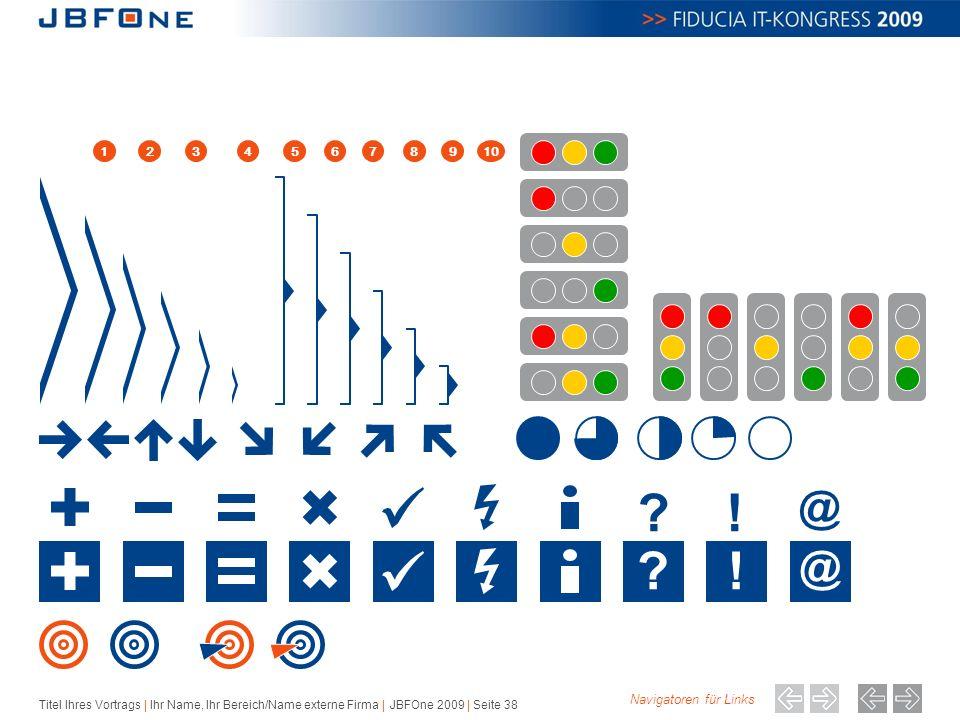 Titel Ihres Vortrags | Ihr Name, Ihr Bereich/Name externe Firma | JBFOne 2009 | Seite 38 .