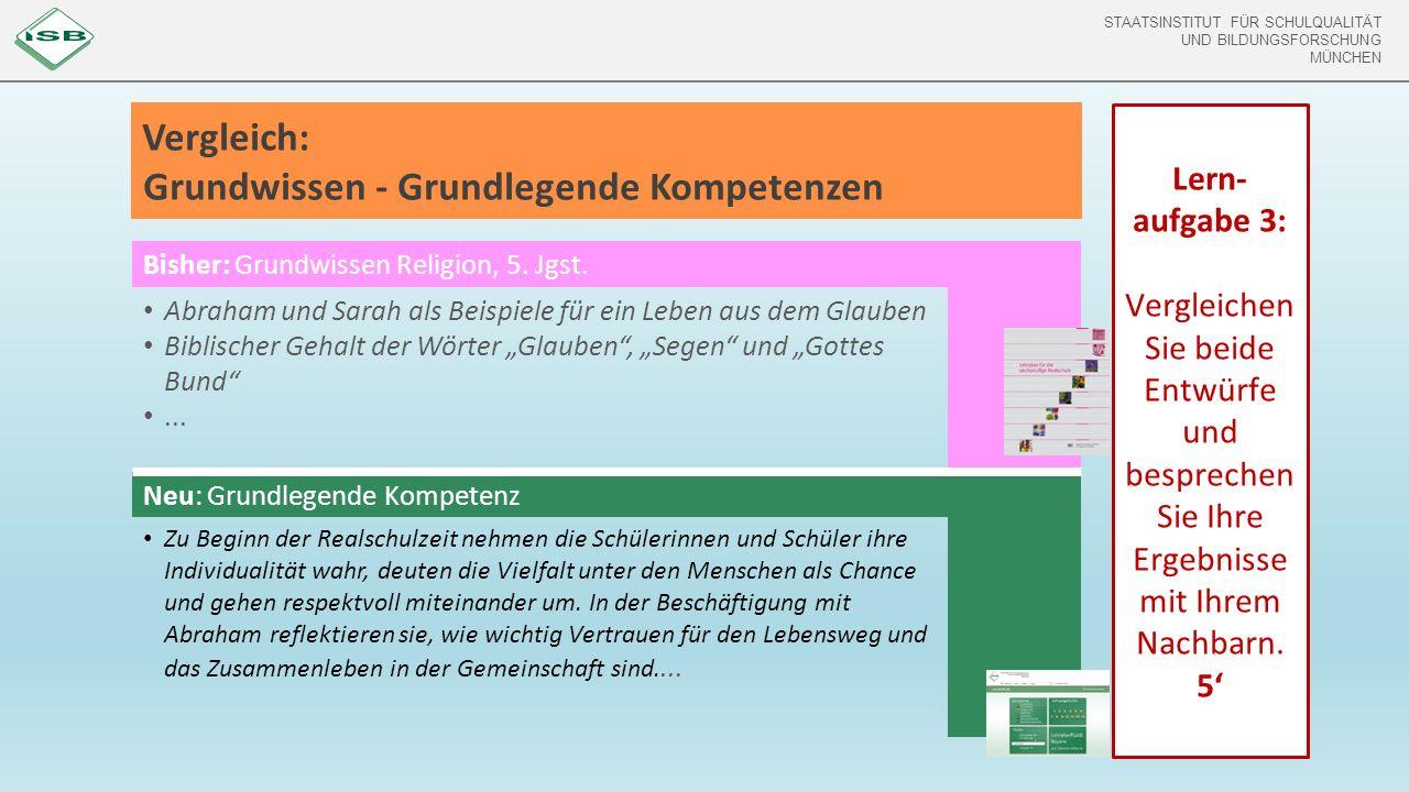 STAATSINSTITUT FÜR SCHULQUALITÄT UND BILDUNGSFORSCHUNG MÜNCHEN Vergleich: Grundwissen - Grundlegende Kompetenzen Bisher: Grundwissen Religion, 5.