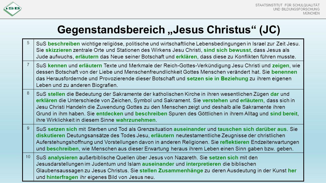 """STAATSINSTITUT FÜR SCHULQUALITÄT UND BILDUNGSFORSCHUNG MÜNCHEN Gegenstandsbereich """"Jesus Christus"""" (JC) 5 SuS beschreiben wichtige religiöse, politisc"""