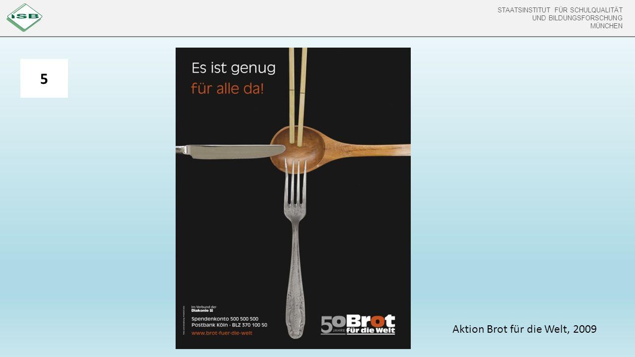 STAATSINSTITUT FÜR SCHULQUALITÄT UND BILDUNGSFORSCHUNG MÜNCHEN STAATSINSTITUT FÜR SCHULQUALITÄT UND BILDUNGSFORSCHUNG MÜNCHEN 5 Aktion Brot für die Welt, 2009
