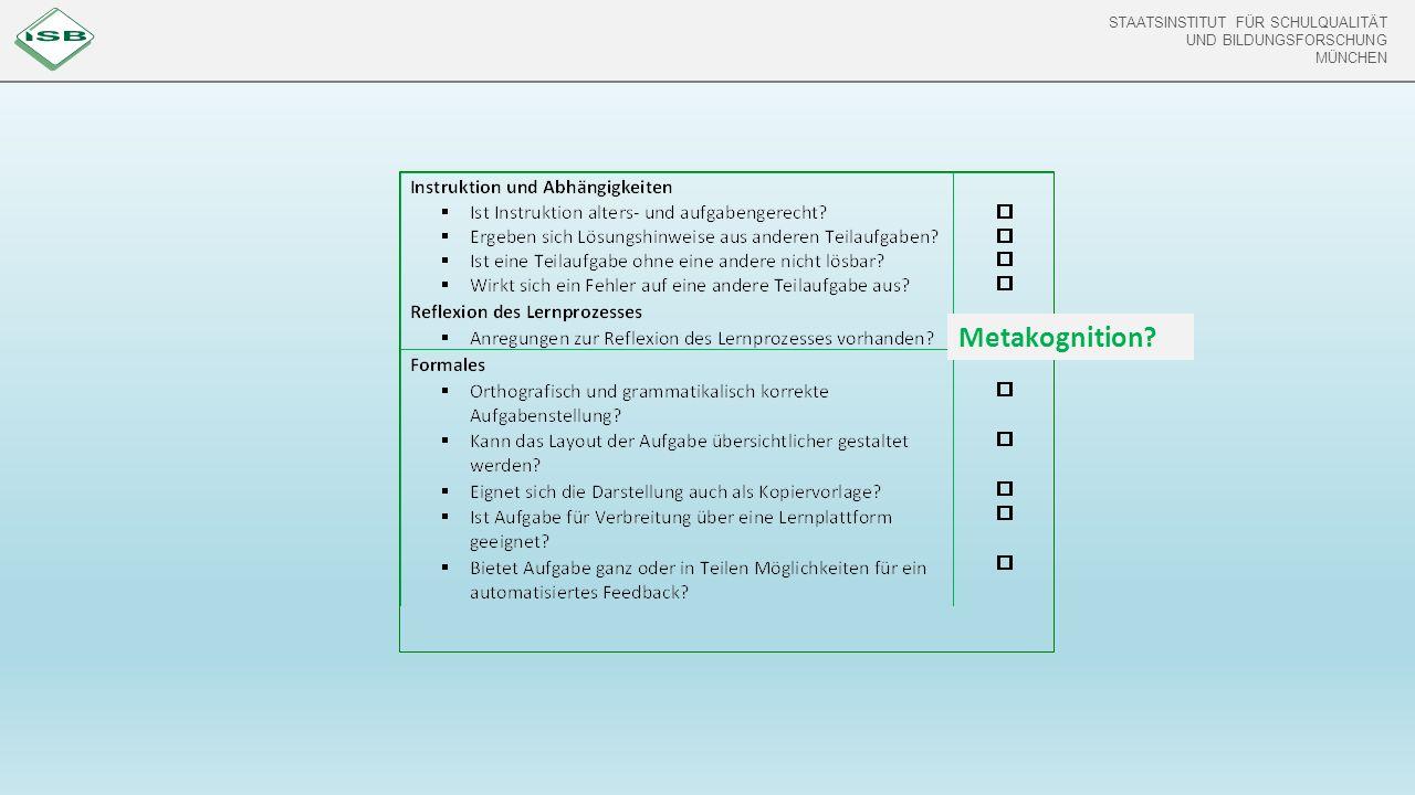 STAATSINSTITUT FÜR SCHULQUALITÄT UND BILDUNGSFORSCHUNG MÜNCHEN STAATSINSTITUT FÜR SCHULQUALITÄT UND BILDUNGSFORSCHUNG MÜNCHEN Metakognition?