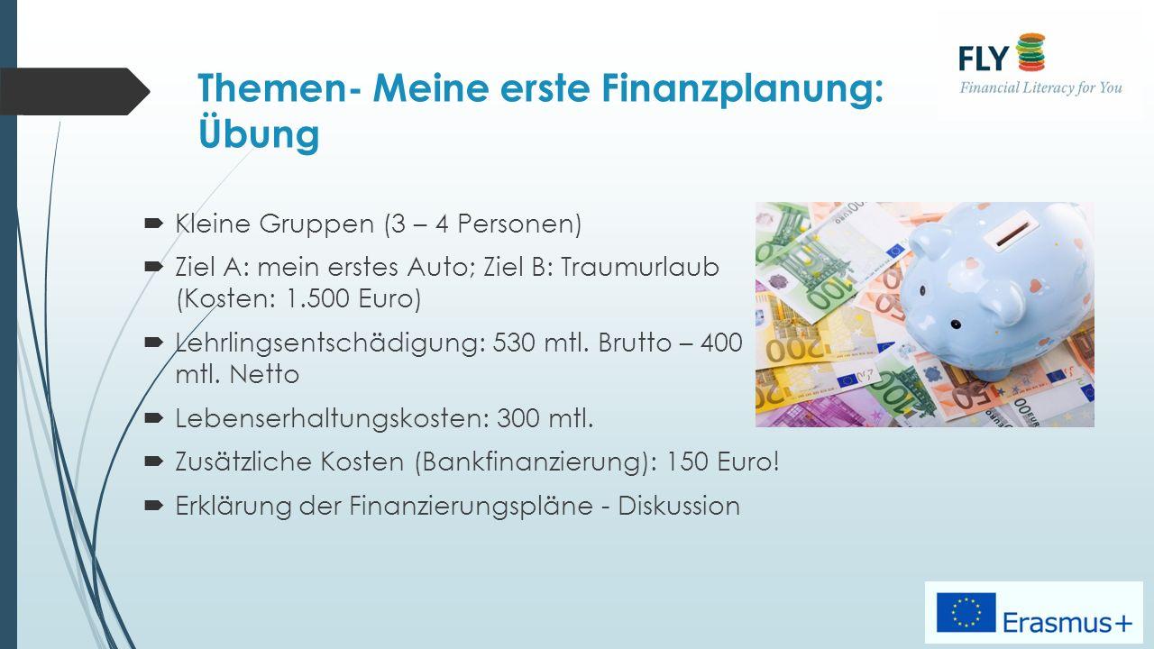 Themen- Meine erste Finanzplanung: Übung  Kleine Gruppen (3 – 4 Personen)  Ziel A: mein erstes Auto; Ziel B: Traumurlaub (Kosten: 1.500 Euro)  Lehrlingsentschädigung: 530 mtl.